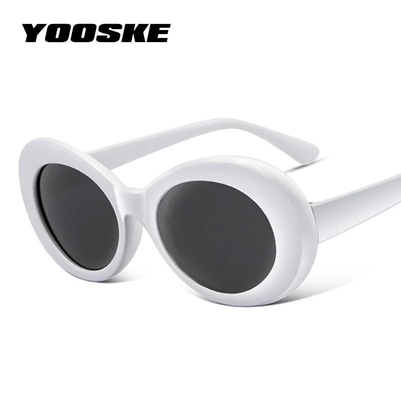 [해외]YOOSKE 여성 Clout 고글 안경 남성 NIRVANA 커트 Cobain 선글라스 여성 남성 타원형 Sun 안경 Black White Eyewear UV400/YOOSKE Women Clout Goggles Glasses Men NIRVANA Kurt Cob