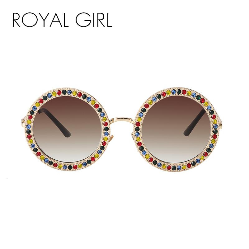 [해외]ROYAL GIRL 2018 여성 라운드 크리스탈 선글라스 브랜드 디자이너 럭셔리 라인 석 썬 안경 음영 Oculos ss970/ROYAL GIRL 2018 Women Round Crystal Sunglasses Brand Designer Luxury Rhine