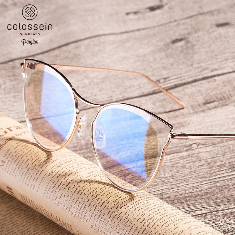 [해외]COLOSSEIN Pinglas 고양이 눈 선글라스 여자 플랫 아이 안경 코팅 안경 골든 메탈 프레임 oculos de sol feminino/COLOSSEIN Pinglas Cat eye Sunglasses Women Flat Eyewear Coating Gl