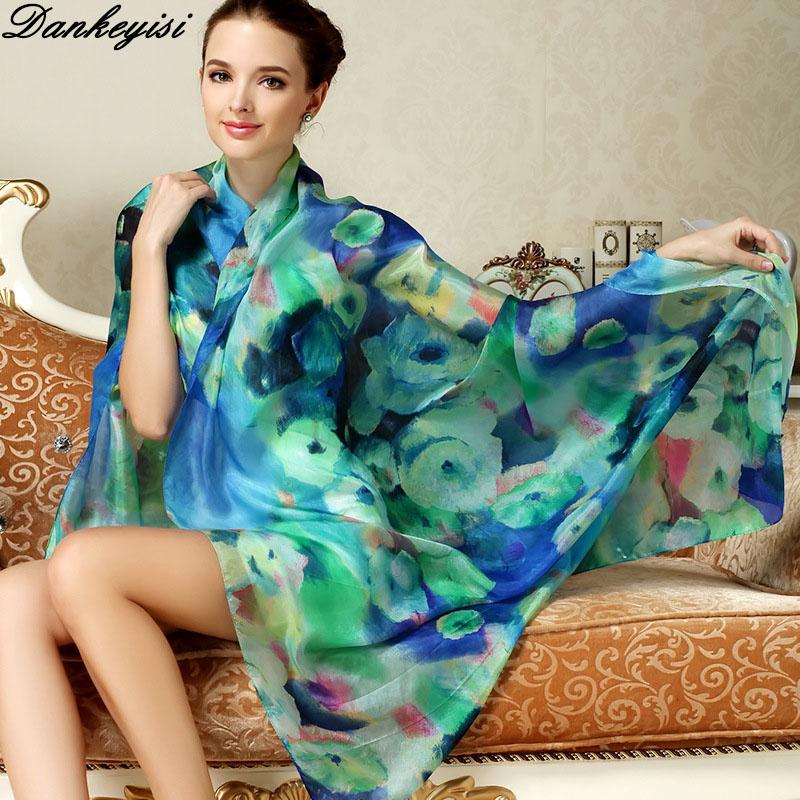 [해외]DANKEYISI 브랜드 여성 긴 실크 스카프 목도리 봄 가을 여성 실크 스카프 인쇄 여름 100 %  실크 비치 커버 업/DANKEYISI Brand Women Long Silk Scarf Shawl Spring Autumn Female Silk Scarves
