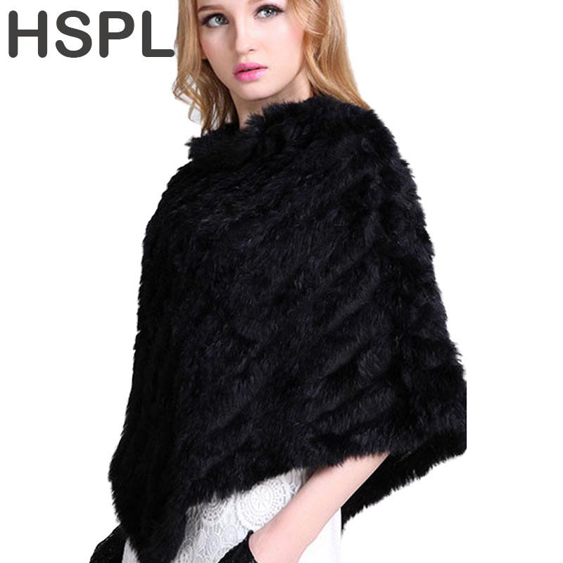 [해외]HSPL 2017가 니트 천연 모피 목도리 패션 토끼 모피 케이프 목도리  토끼 모피 여성 블랙 모피 판초/HSPL 2017 Autumn  Knitted Natural Fur Shawl  Fashion Rabbit Fur Cape Shawl Genuine Rab