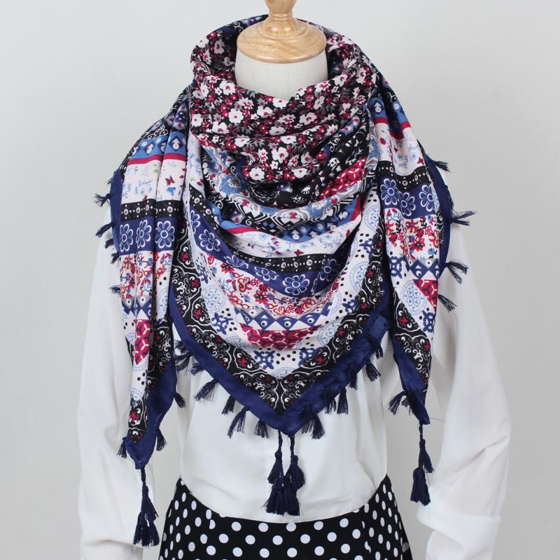 [해외]2017 새로운 패션 숙 녀 빅 스퀘어 스카프 인쇄 여성 포장 겨울 숙 녀 스카프 코 튼 인도 floural 머리 띠 CX003/2017  New Fashion Ladies Big Square Scarf Printed Women Wraps Winter ladie