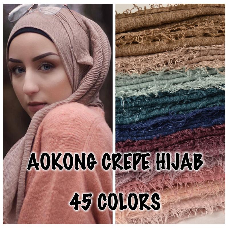 [해외]10pcs / lot 여성 맥시 hijabs shawls 특대 이슬람 머리는 부드럽고 긴 이슬람 닳은 크레이프 프리미엄면 일반 hijab 스카프를 포장/10pcs/lot women maxi hijabs shawls oversize islamic head wrap
