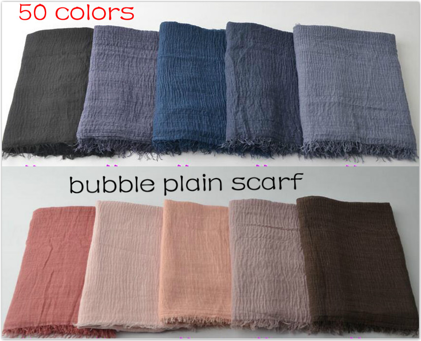 [해외]180x100cm 여자 목화 스카프 거품 일반  Hijab Scarffringes 인기 이슬람교 머플러 Shawls 큰 pashmina을 래핑/180x100cm Women Cotton Scarf bubble plain wrinkle Hijab Scarffring