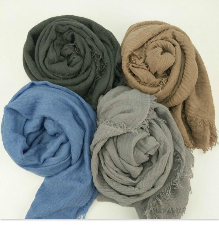 [해외]새로운 거품 일반 스카프 / 겨울 스카프 프린지 여성 부드러운 고체 hijabs shawls 큰 pashmina 여자 이슬람 포장 남성 면화 스카프/New bubble plain scarf/winter scarves fringes women soft solid