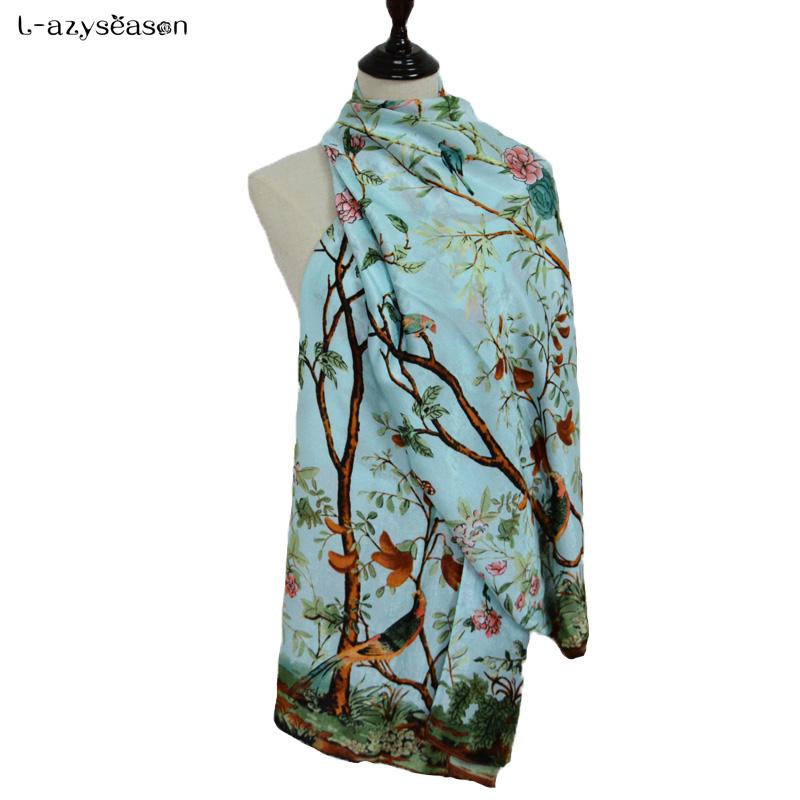 [해외]패션 스카프 럭셔리 브랜드 가을 겨울 여성 스카프 꽃 인쇄 Pashmina 부드러운 얇은 따뜻한 목도리 shemagh hijabs 90X180 CM을 래핑/Fashion scarf luxury brand Autumn Winter women Scarves flow