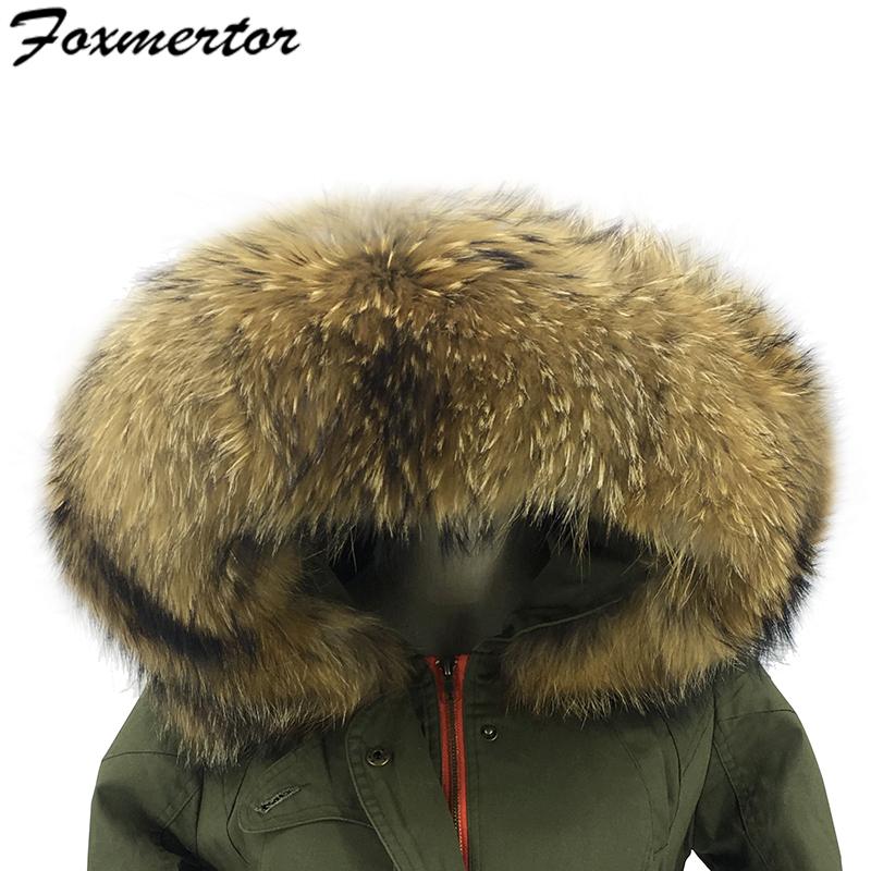 [해외]65CM 길이 100 % 진짜 너구리 천연 모피 여성용 & amp; 남성 겨울 다운 코트 파커 재킷 칼라  럭셔리 모피 모자 모자/65CM Length 100% Real Raccoon Natural Fur For Women & Men Winter