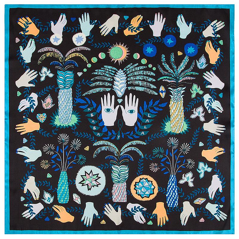 [해외]새 잎 팜 레이디 점령 새틴 실크 스카프 작은 사각형 눈 손 패턴 겨울 가을 스카프 60cm * 60cm/New Leaves Palm Lady Occupation Satin Silk Scarf Small Square Eyes  Hand Patterns Winte