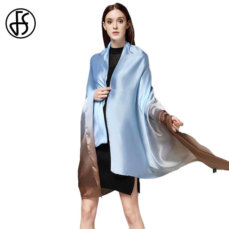 [해외]FS 여성 실크 새틴 스카프 럭셔리 브랜드 2017 그라디언트 색상 대형 반창고 롱 쇼걸 소프트 레이디 스카프 랩 Echarpe Pashmina/FS Women Silk Satin Scarf Luxury Brand 2017 Gradient Color Large