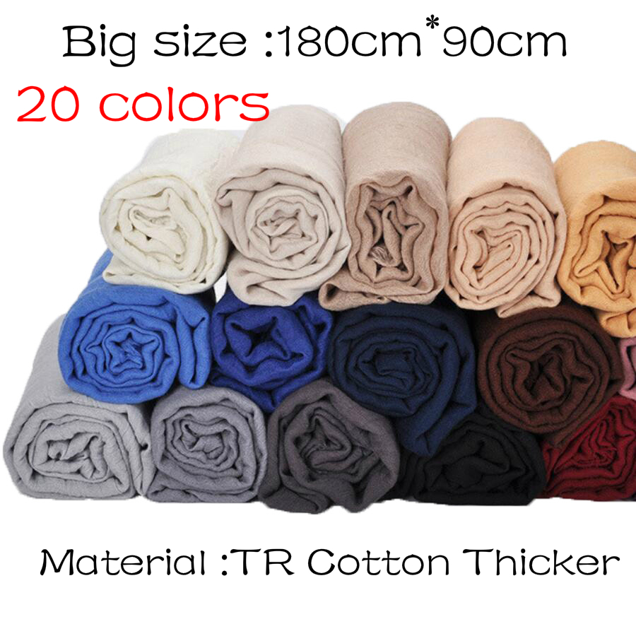 [해외]1 개 여성 viscose 단색 hijabs 겨울 스카프 이슬람 머리 포장 술 스카프 20 색 플러스 크기 180CM * 90CM/1 pcs Plain hijabs for women viscose solid color winter scarf muslim head
