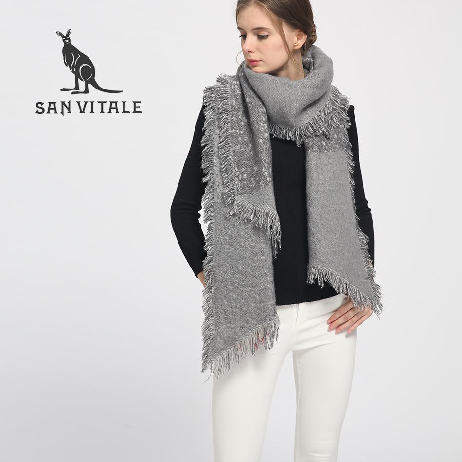 [해외]SAN VITALE Womens Shawls 겨울 따뜻한 스카프 럭셔리 브랜드 부드러운 패션 두꺼운 격자 무늬 랩 여성용 양모 캐시미어 겉옷/SAN VITALE Womens Shawls Winter Warm Scarf Luxury Brand Soft Fashio