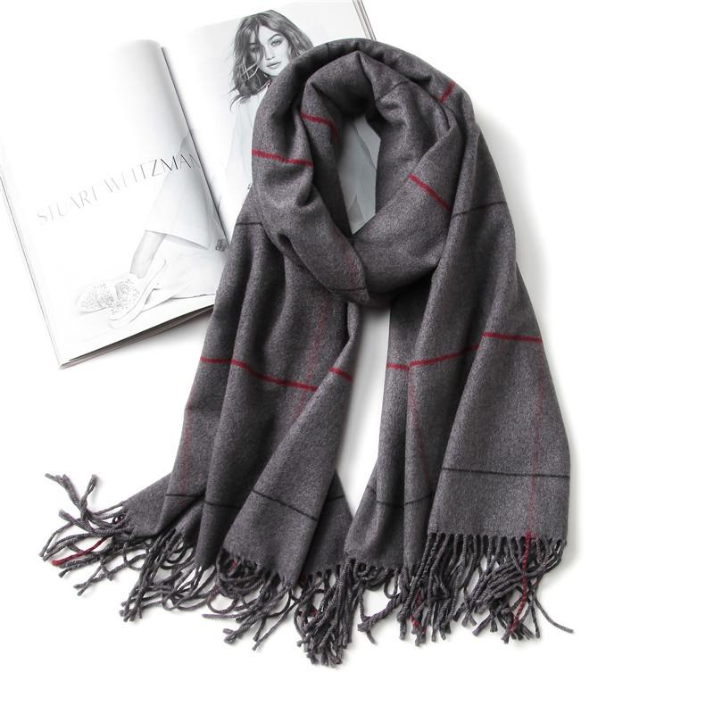 [해외]빈티지 2017 럭셔리 브랜드 여성 스카프 격자 무늬 따뜻한 캐시미어 스카프 레이디 겨울 shawls 및 포장 pashmina 두건 두꺼운 풀라/vintage 2017 luxury brand women scarf plaid warm cashmere scarves