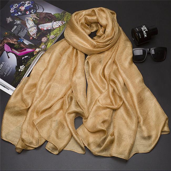 [해외]새로운 185 * 100cm 진주 솔리드 실크 스카프 목도리 가을 겨울 스카프 여성 아름다운 스카프 워프 Echarpes Foulards Femme/New 185*100cm Pearl Solid Linen Silk Scarf Shawl Autumn Winter
