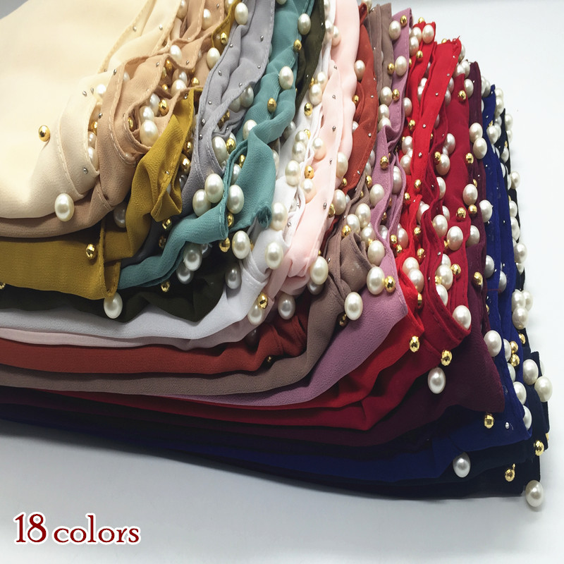 [해외]버블 쉬폰 스카프 스카프 진주 구슬 가장자리 여성 이슬람 hijab headbands shawls 패션 foulard 22 색 mulffer/New arrival bubble chiffon scarf scarves pearls bead edges women mu