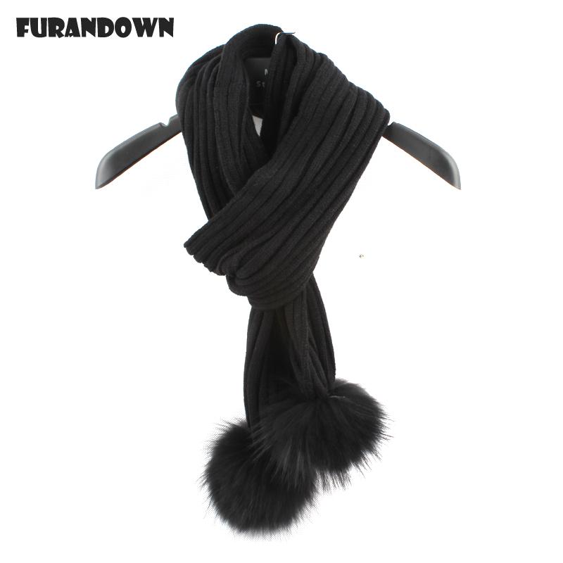 [해외]2017 진짜 두 모피 Pompom 겨울 스카프 여자 남자 따뜻한 뜬 스카프 숙녀 들어/2017 Real Two Fur Pompom Winter Scarf Women Men Warm Knitted Scarfs For Ladies