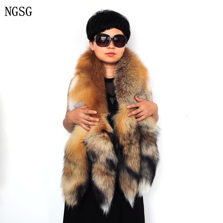 [해외]2017 진짜 붉은 여우 모피 스카프 135cm 실버 여우 꼬리 스카프 패션 여성 \\ 브랜드 여우 피부 목도리 크리스마스 모피 선물 SF13050-8/2017 Real red fox fur scarf 135cm silver fox tails scarves fas