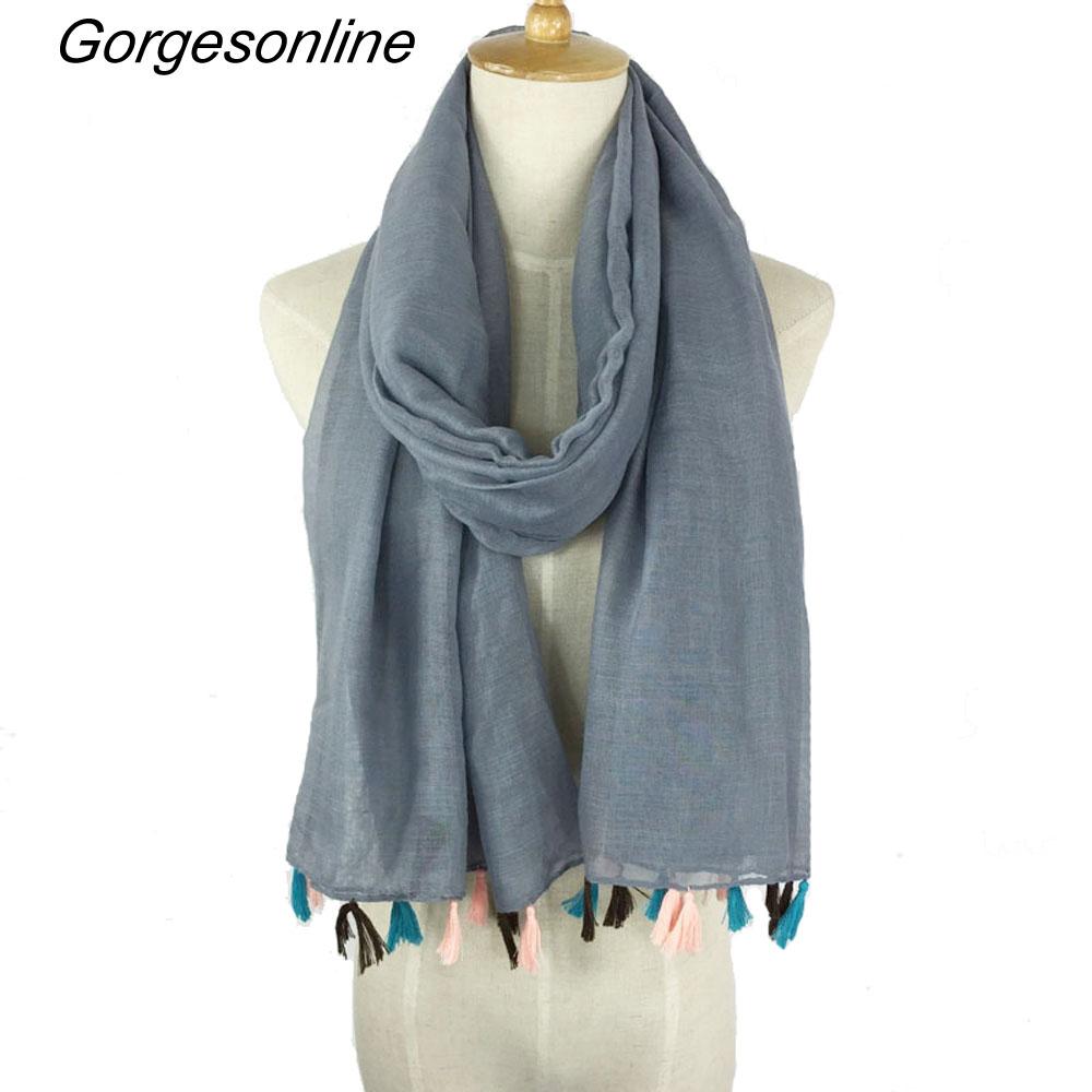 [해외]핫 패션 아주 숙녀 솔리드 컬러 술 스카프 목도리 hijab 판매/Hot selling very fashion ladies solid color tassel scarf shawl hijab wholesale