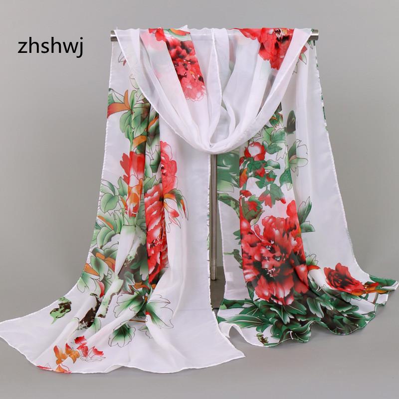 [해외]봄과 여름 새로운 스카프 쉬폰 작은 타올 들어 갔어 우아한 스카프 여성 스카프 160 * 50CM 작약 꽃 패턴/Spring and summer new scarf chiffon small towel sunscreen elegant scarf women scarf