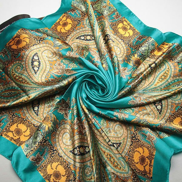 [해외]90 * 90cm 2017 새로운 우아한 고전 인쇄 허리 꽃 실크 스카프 모방 실크 대형 사각형 타월 봄 캐슈 스카프/90 * 90cm 2017 new elegant classical printing waist flowers silk scarves Imitate