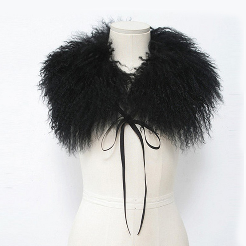 [해외]진짜 몽골 양 모피 칼라 스카프 자켓 코트 비치 울 스 트랩 솔리드 블랙 화이트 여성  모피 칼라 겨울/Real Mongolia Sheep Fur Collar Scarf for Jacket Coat Beach WoolStraps Solid Black White
