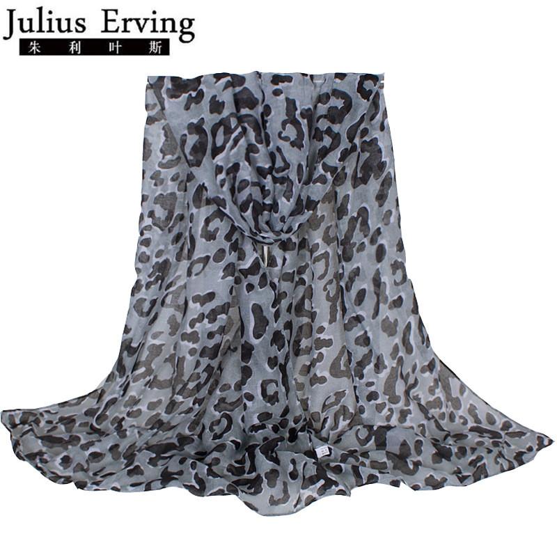 [해외]줄리어스 Erving 클래식 그레이 여성 스카프 표범 인쇄 2017 새로운 패션 레이디 브랜드 디자인 목도리 Echarpe Foulard Femme 180 * 70cm/Julius Erving Classic Gray Women Scarf Leopard Print