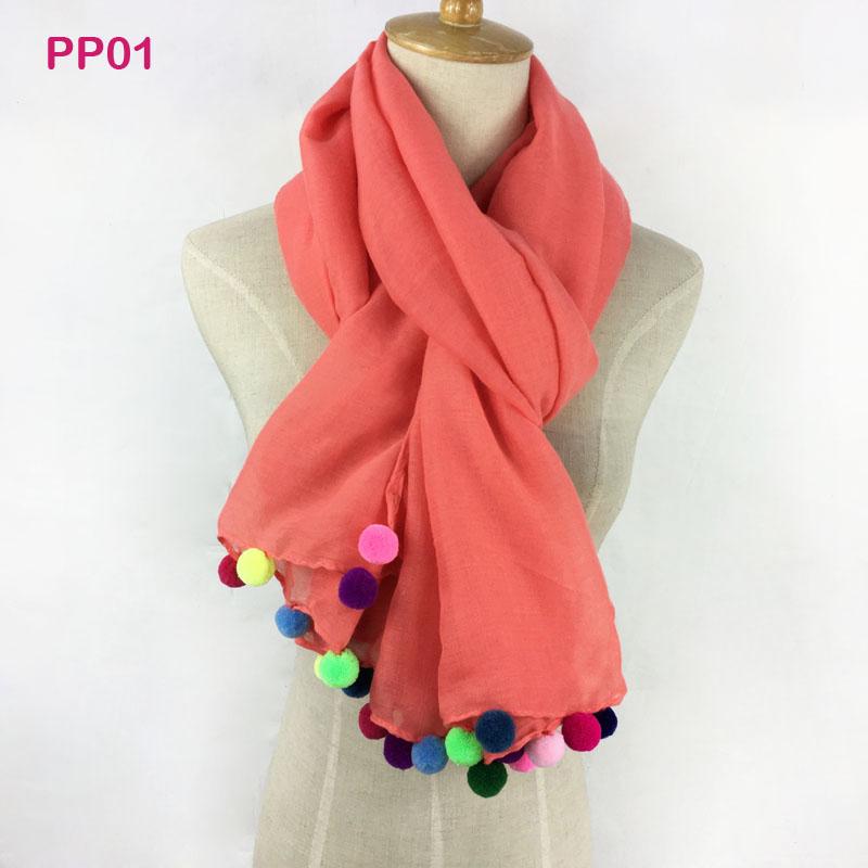 [해외]Gorgesonline 디자이너 핸드 메이드 평야 코튼 롱 목도리 Pashmina 포장, 봄 다채로운 Pom Pom 여성 스카프, 단색 Hijab/Gorgesonline Designer Handmade Plain Cotton Long Shawl Pashmina