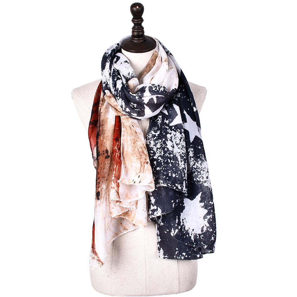 [해외]새로운 디자이너 드롭 출하 스타 긴 스카프 여자 스카프 미국 국기 서쪽 인쇄 미국 별 코튼 비스코스 스카프 여자 목도리/New Designer drop shipping star Long scarf women scarves USA flag west print Am