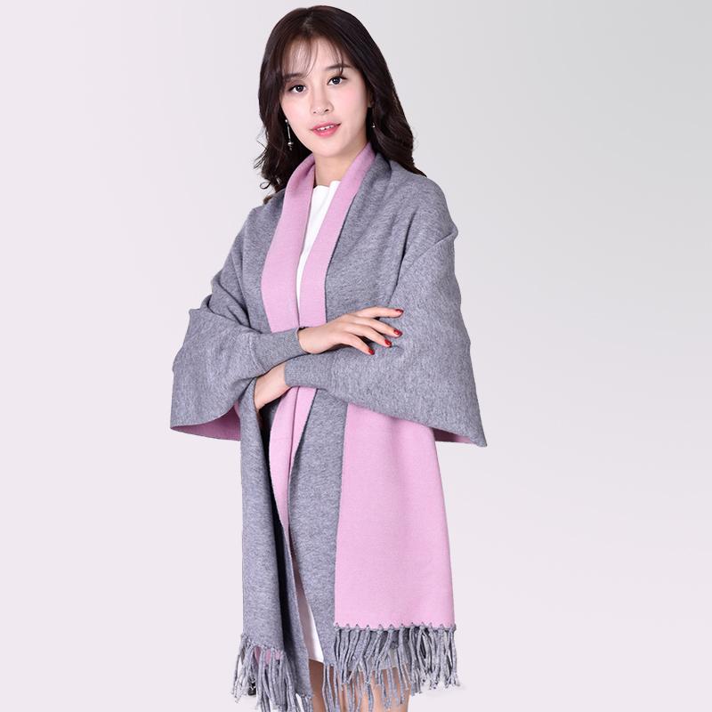[해외]새로운 디자인 여성 스카프 슬리브 퓨어 컬러 겨울 스카프 울 캐시미어 Pashmina Cape 2017 두꺼운 스톨/New Design Women ScarfSleeves Pure Color Winter Scarf Wool Cashmere Pashmina Cape