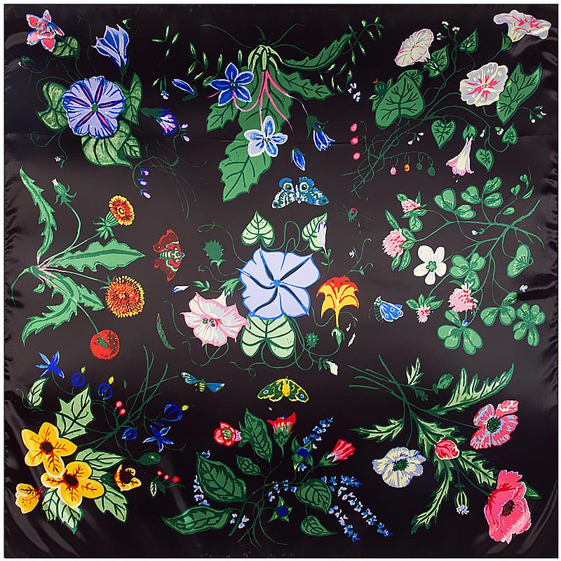 [해외]MENGLINXI 90cm * 90cm 2017 새로운 브랜드 어깨 걸이 능 직물 여성 실크 스카프 나팔꽃 인쇄 스퀘어 스카프 패션 Hijab 머리띠/MENGLINXI 90cm*90cm 2017 New Brand Shawl Twill Women Silk Scar