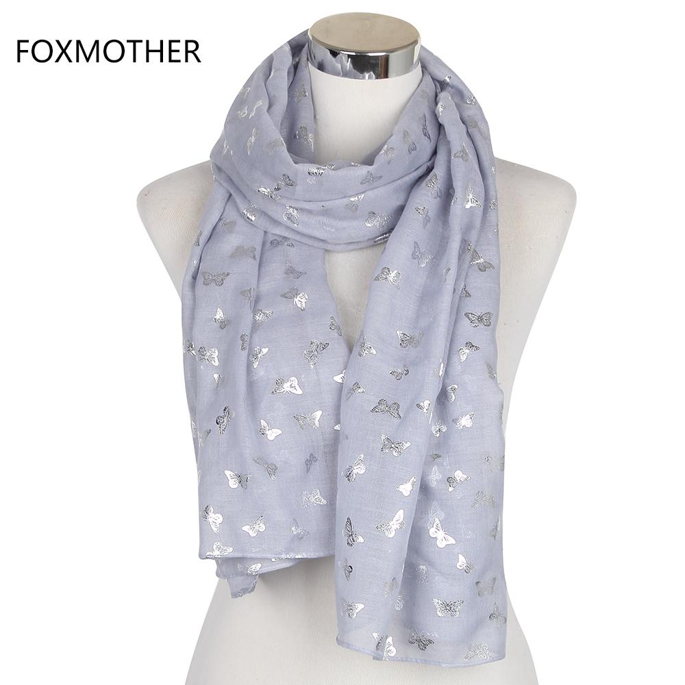 [해외]FOXMOTHER 2017 새로운 여성 패션 화이트 그레이 메탈 릭 골드 호일 나비 긴 스카프 Womens Shawl Pashmina/FOXMOTHER 2017 New Women Fashion White Grey Metallic Gold Foil Butterfl