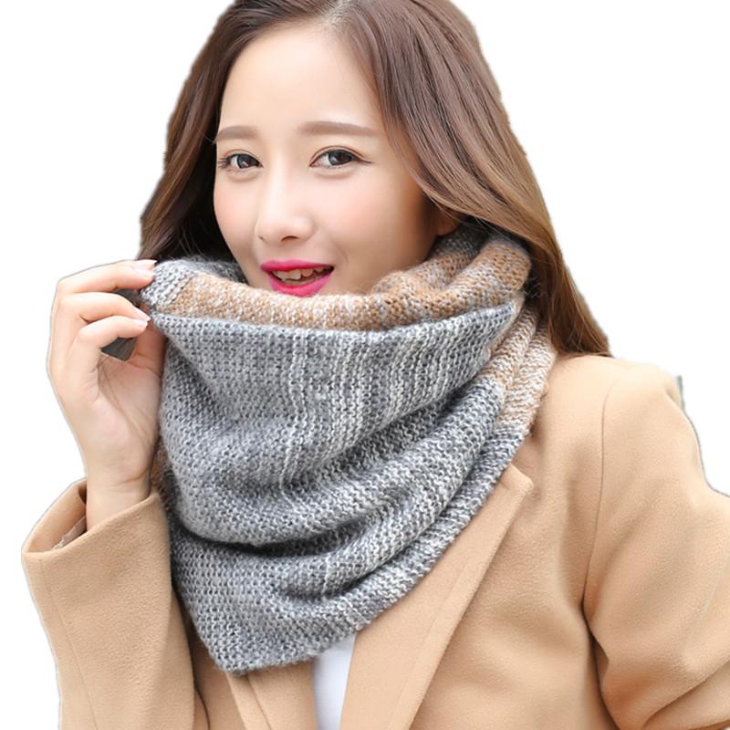 [해외]패션 패치 워크 여성을니트 스카프 LIC 가을 럭셔리 브랜드 반지 Shawls Stoles 여성 겨울 따뜻한 캐시미어 스카프 칼라/Fashion Patchwork Knitted Scarves For Women LIC Autumn Luxury Brand Ring