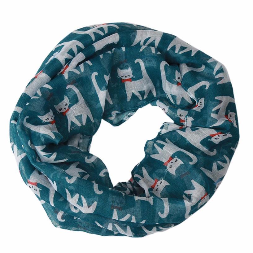 [해외]2017 여자와 스카프 사랑스러운 고양이 인쇄 부드러운 실크 Voile 링 스카프 목도리 풀 라르 Femme 소이 드 Marque YL10/2017 Women&s Scarves Lovely Cat Printed Soft Silk Voile Ring Scarf S