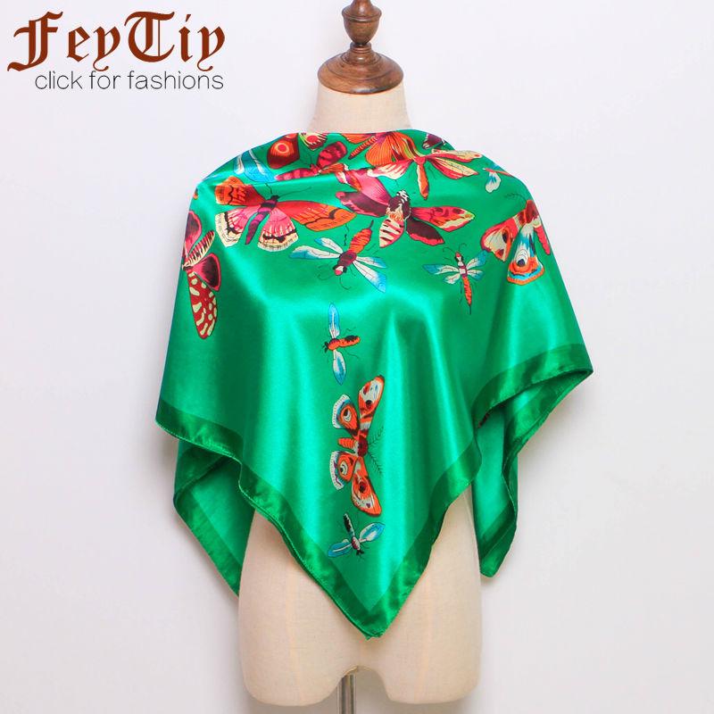 [해외]여성용 녹색 나비 인쇄 실크 새틴 스퀘어 스카프 2018 새로운 봄 브랜드 레이디 & s 실크 대형 스퀘어 숄 스카프 90cm * 90cm/Women&s Green Butterfly Printed Silk-Satin Square Scarves 2018 N