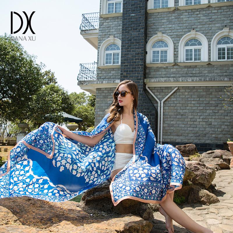 [해외]숙 녀 실크 스카프 새로운 럭셔리 브랜드 꽃 여성 스카프 디자이너 여름 해변 담요 두건 이슬람교 히 자브 풀라드 Pashmina/Ladies Silk Scarf New Luxury Brand Flower Womens Scarves Designer Summer B