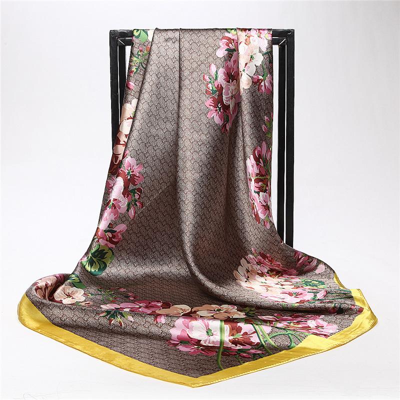 [해외]새로운 패션 편지 Flowe 인쇄 대형 스카프 숙녀 액세서리 브랜드 랩 Shawls 여성 우아한 실크 스카프 90 * 90cm/New Fashion Letter Flowe Print Large Square Scarves Ladies Accessories Bran