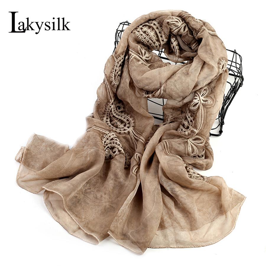 [해외][Lakysilk] 봄을새로운 브랜드 아이스 실크 스카프 여성 자수 목도리 풀라 댄스 스카프 숙녀 실크 넥 긴 스카프/[Lakysilk]New Brand Ice Silk Scarf Women Embroidery Shawl Foulard Smooth Scarves