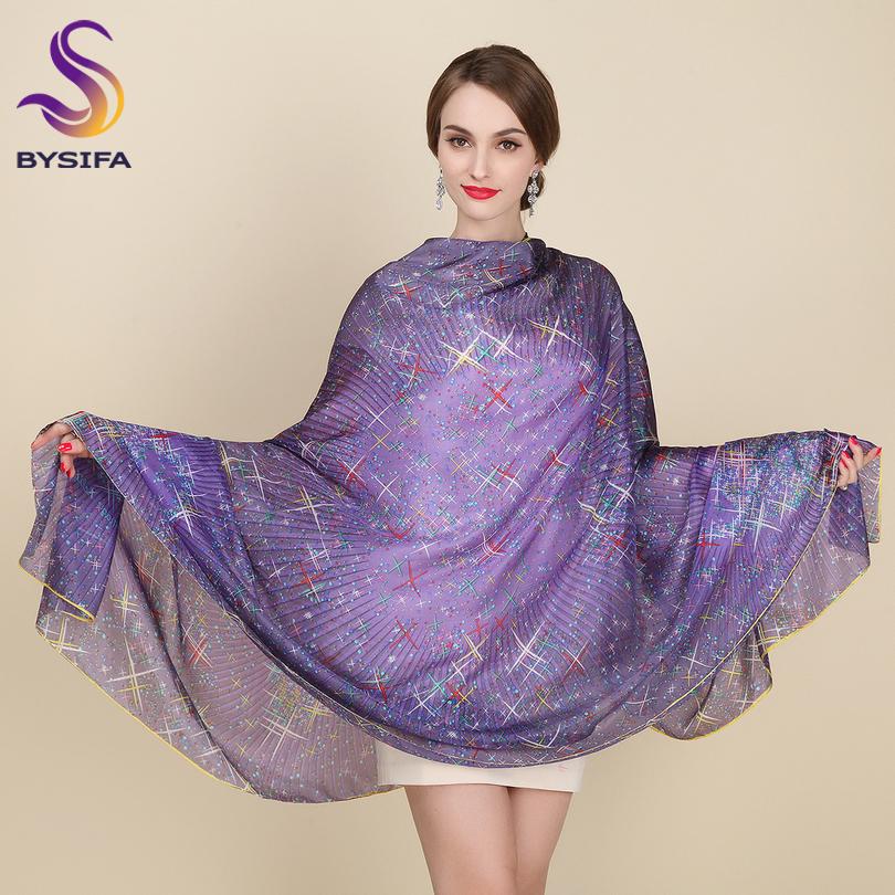 [해외]큰 실크 스카프 새로운 디자인 패션 액세서리 여성 보라색 별 롱 스카프 200 * 110cm 플러스 사이즈 가을 겨울 스카프/Large Silk Scarf New Design Fashion Accessories Women Purple Stars Long Scar