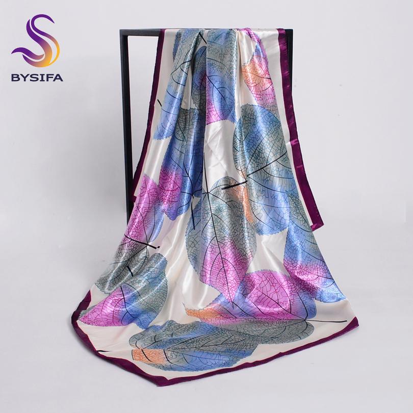 [해외][BYSIFA] 새로운 봄 실크 스카프 목도리 패션 accessorries 이슬람 여자 헤드 스카프 90 * 90cm 우아한 잎 패턴 스퀘어 스카프/[BYSIFA] New Spring Silk Scarf Shawl Fashion Accessorries Musli