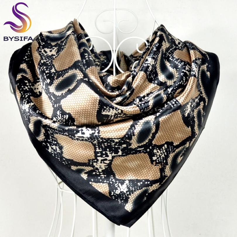 [해외][BYSIFA] 스네이크 프린트 블랙 새틴 스퀘어 스카프 헤드 스카프 90 * 90cm 겨울 여성 숄 스카프 랩 여름 에어 - 컨디션 숄/[BYSIFA] Snake Print Black Satin Square Scarves Headscarves 90*90cm W