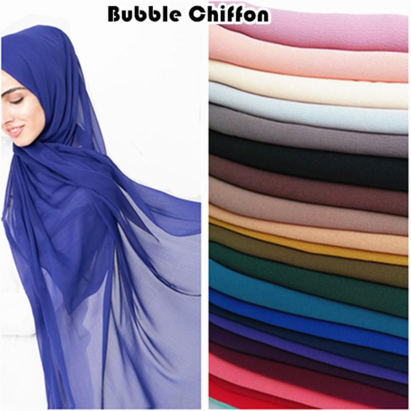 [해외]핫 세일 평범한 거품 시폰 hijab 솔리드 컬러 스카프 스카프 패션 이슬람 머리띠 인기 hijabs 화려한 머플러 10pcs / lot/Hot sale plain bubble chiffon hijab solid color scarf scarves fashion
