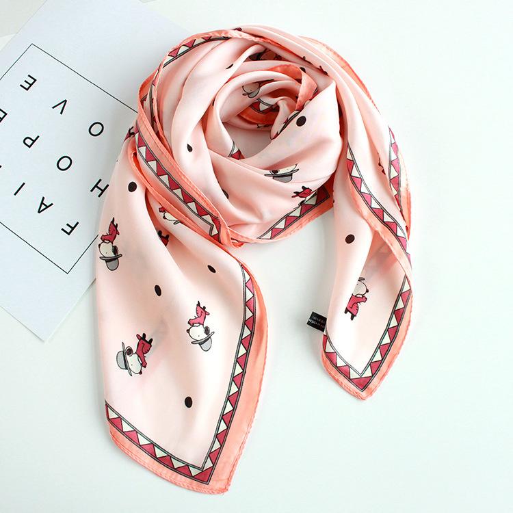 [해외]슈퍼 귀여운 강아지 만화 디지털 인쇄 패션 새로운 가짜 실크 스카프 여름 봄 작은 넥타이 슈퍼 부드럽고 부드러운 스카프/super cute dog cartoon digital print fashion new faux silk scarf summer spring