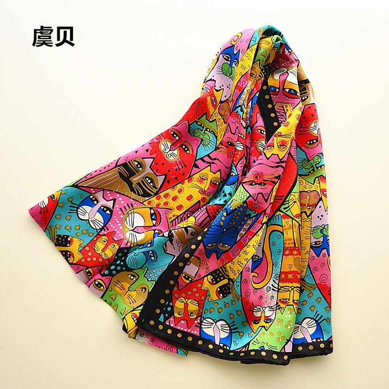 [해외]화려한 고양이 긴 스카프 여자 & s의 들어 갔어 부드러운 얇은 뽕나무 천연 실크 스카프 동물 스카프 레이디에 대한 목도리 선물 포장/Colorful cats long scarf women&s sunscreen soft thin mulberry natur