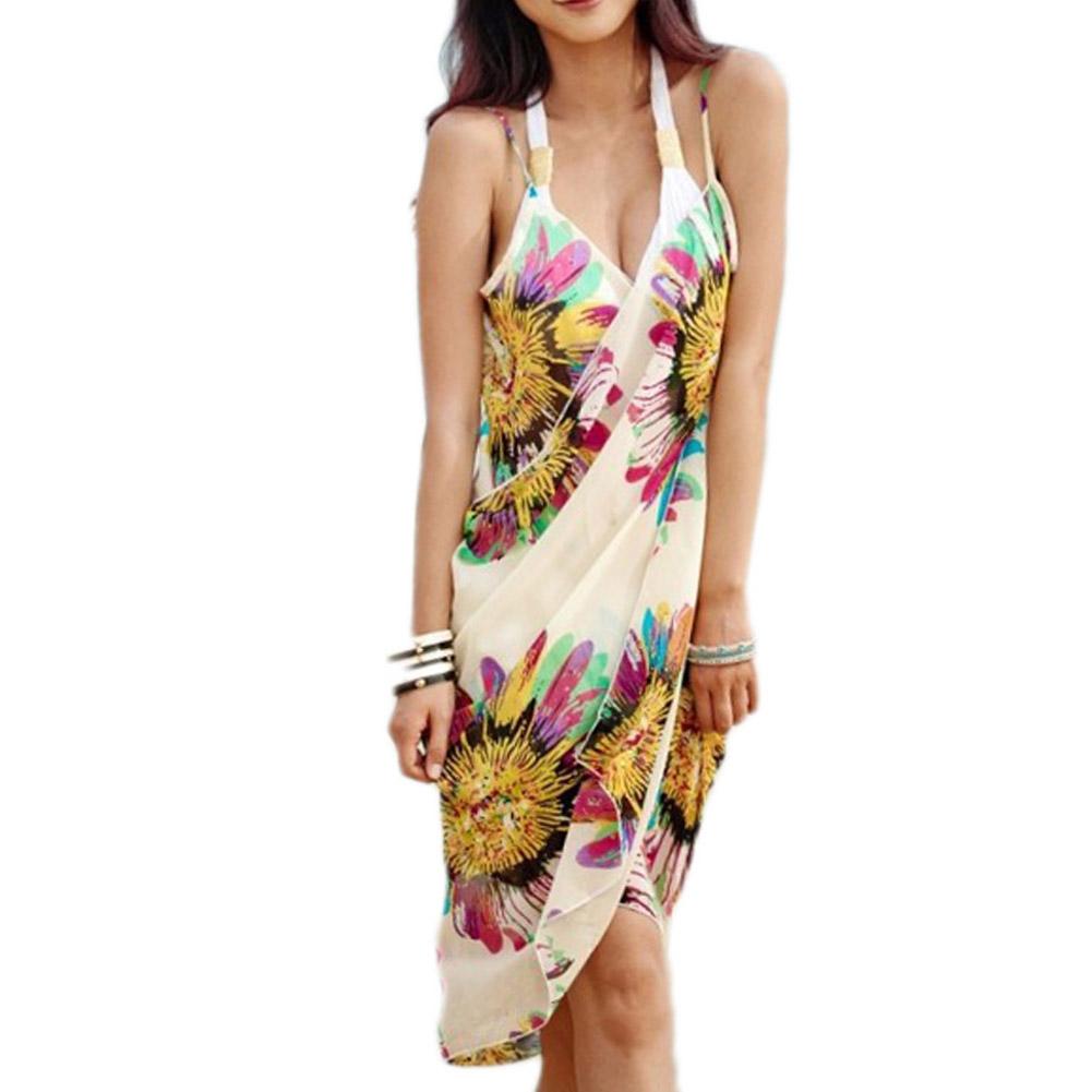 [해외]여성 비치 드레스 섹시한 슬링 비치웨어 원피스 Sarong Bikini Cover-ups 랩 파 레오 스커트 타월 플라워 오픈 백/Women Beach Dress Sexy Sling Beach Wear Dress Sarong Bikini Cover-ups Wra