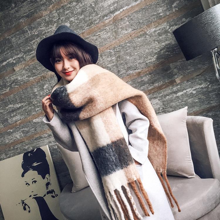 [해외]여자를Tnine 겨울 스카프 클래식 격자 무늬 스카프 여자 술 롱 캐시미어 스카프 숙녀 따뜻한 Pashmina Shawls 스카프 Stoles/Tnine Winter Scarves for Women Classic Plaid Scarf Womens Tassel L