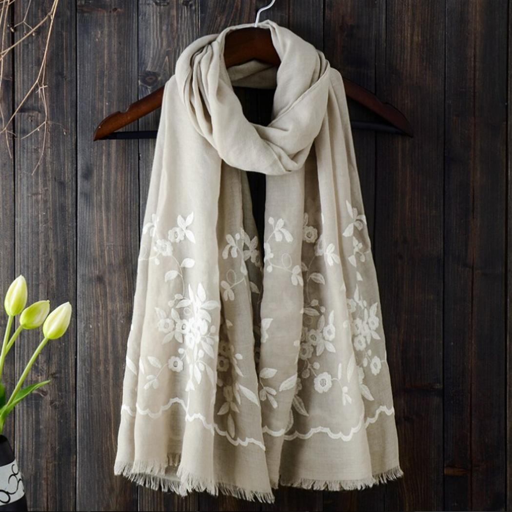 [해외]민족 Boho 수 놓은 목화 스카프와 여성 스카프에 대 한 Shawls 패션 무슬림 Hijab 두건의 레이디스 랩에 대 한 Pashmina 스카프/Ethnic Boho Embroidered Cotton Scarves and Shawls for Women Scar