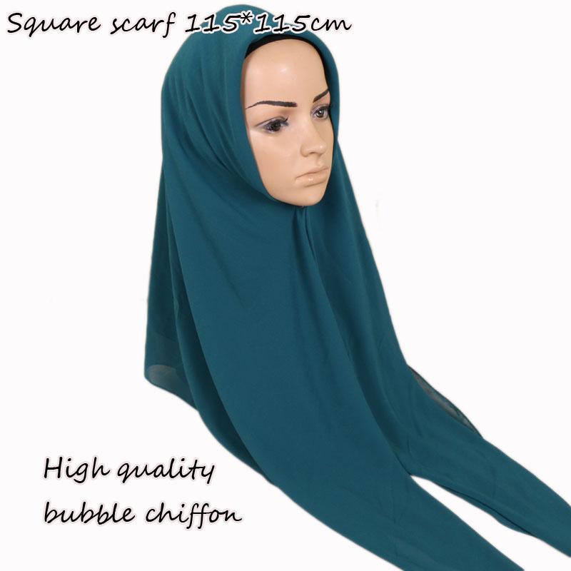 [해외]115 * 115cm 인기있는 고품질 사각형 크기 거품 쉬폰 shawls hijab 머리띠 포장 이슬람 21 색 스카프 / 스카프 10pcs / lot/115*115cm Popular High quality square size bubble chiffon sha