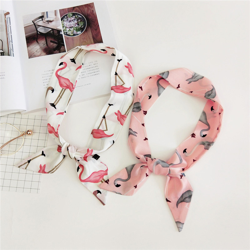 [해외]화이트 & 핑크 귀여운 치마 패션 플라밍고 스카프 프린트 여성용 작은 풀 라우드 헤어 밴드 핸드백 스카프 90 * 5cm 넥 핸드 랩/White&Pink Cute Kerchief Fashion Flamingos Print Scarf Women Sm