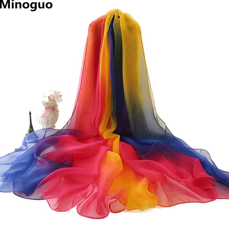 [해외]Minoguo 195x125cm 여성 그라디언트 색상 메릴 실크 스카프 비치 Sarong Pareo 비키니 커버 대형 긴 얇은 오버 사이즈 스카프/Minoguo 195x125cm Women Gradient Color Meryl Silk Scarf Beach Sa