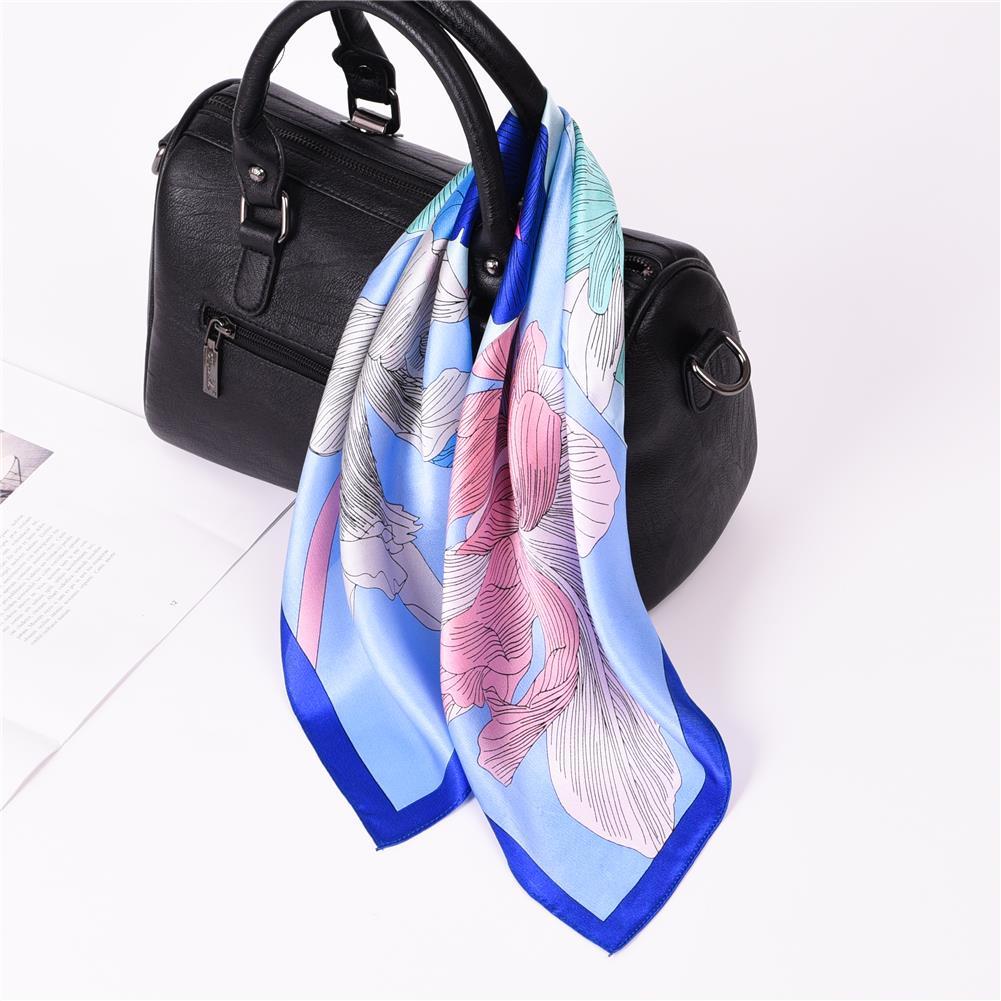 [해외]2018 숙 녀 선물 꽃 인쇄 스카프 여성 패션 여름 스퀘어 스카프 실크 100 %/2018 Ladies Gift Flower Print Scarf For Women Fashion Summer Square Scarf Silk 100%