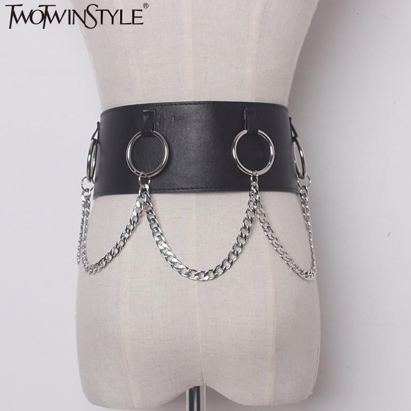 [해외]TWOTWINSTYLE 2017 PU 가죽 링 체인 여성 벨트 패션 블랙 더블 버클 벨트 캐주얼 신품/TWOTWINSTYLE 2017 PU Leather Ring Chain Female Belts For Women Fashion Black Double Buckl